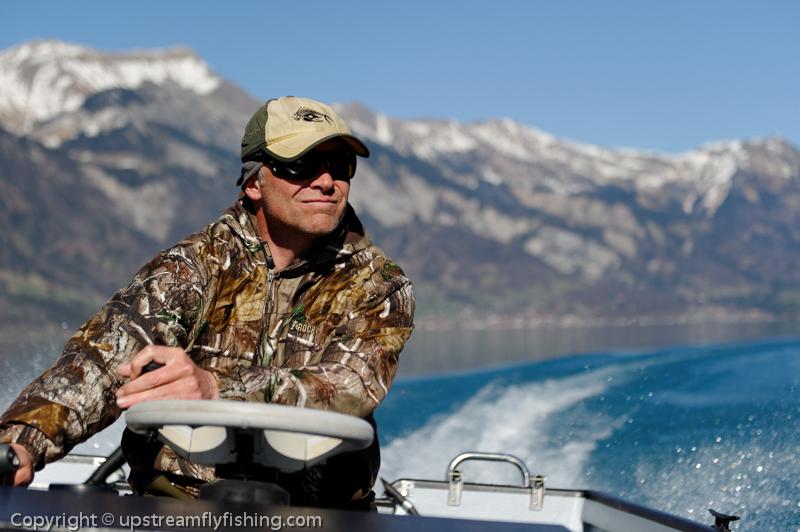 Boat fishing in Switzerland, lake of Brienz